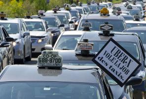Manifestación de taxistas en Montreal