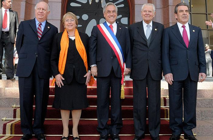 FFoto de los presidentes de Chile Ricardo Lagos; Michelle Bachelet; Sebastián Piñera; Patricio Aylwin y Eduardo Frei