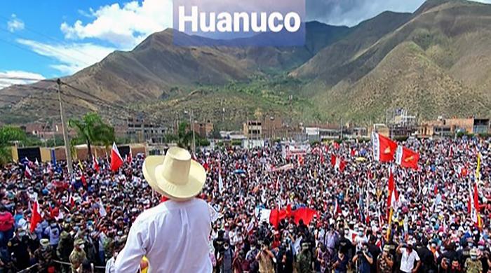 La sorpresa de la primera vuelta presidencial en Perú el 11 de abril Pedro Castillo en encuentro con partidarios en Huanuco