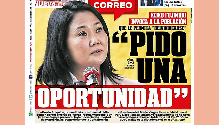 Portado de periódico correo con imagen de Keiko Fujimori