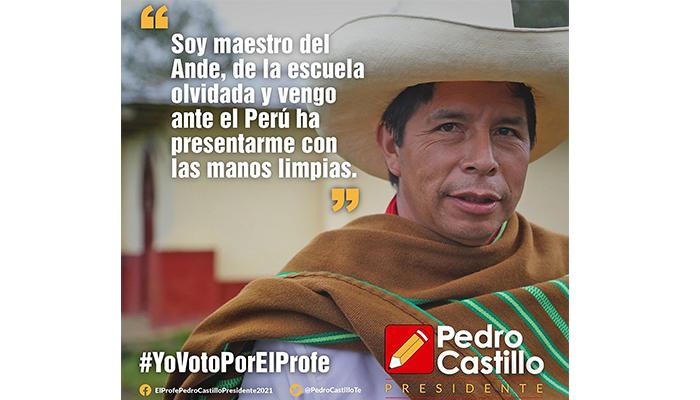Propaganda en medios sociales del candidato presidencial Pedro Castillo